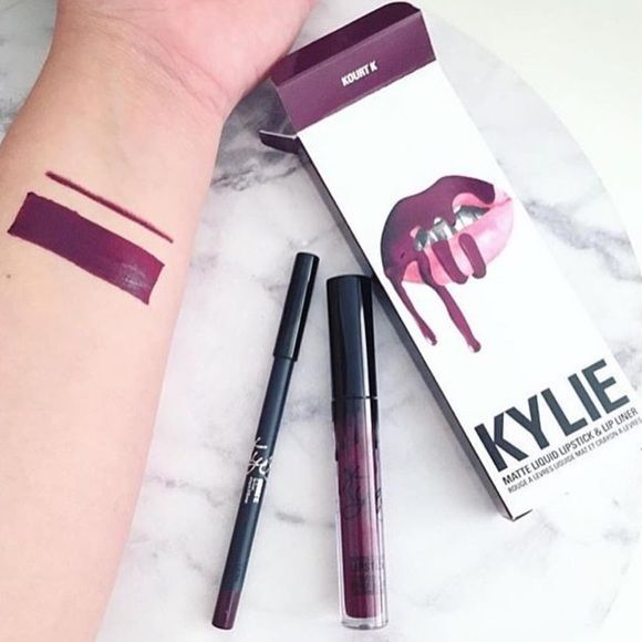 KYLIE JENNER KOURT K LIP KIT!!!! *Ready To Ship!* BRAND NEW, never been used Kylie Jenner matte lip kit in Kourt K! Lip kit comes with liquid lipstick and matching lip liner. Kourt K is a beautiful deep plum tone. So pretty & transitions well from day to night! Message me for details :) Ready to ship now!!! Kylie Cosmetics Makeup Lipstick