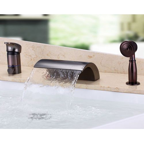 Bathroom Widespread Waterfall Roman Tub Filler Faucet Bath Tap Oil