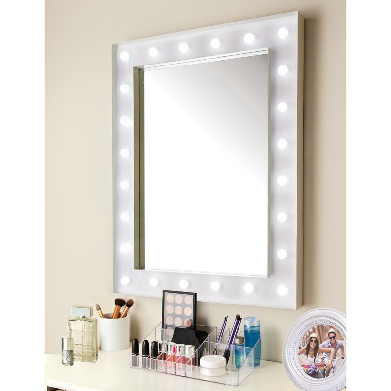 Hollywood 24 Led Bulb Mirror Coated Metal Frame With Battery Operated Led Light Bulbs Complete With Hooks Ready For Hanging D Bulb Mirror Mirror Led Bulb