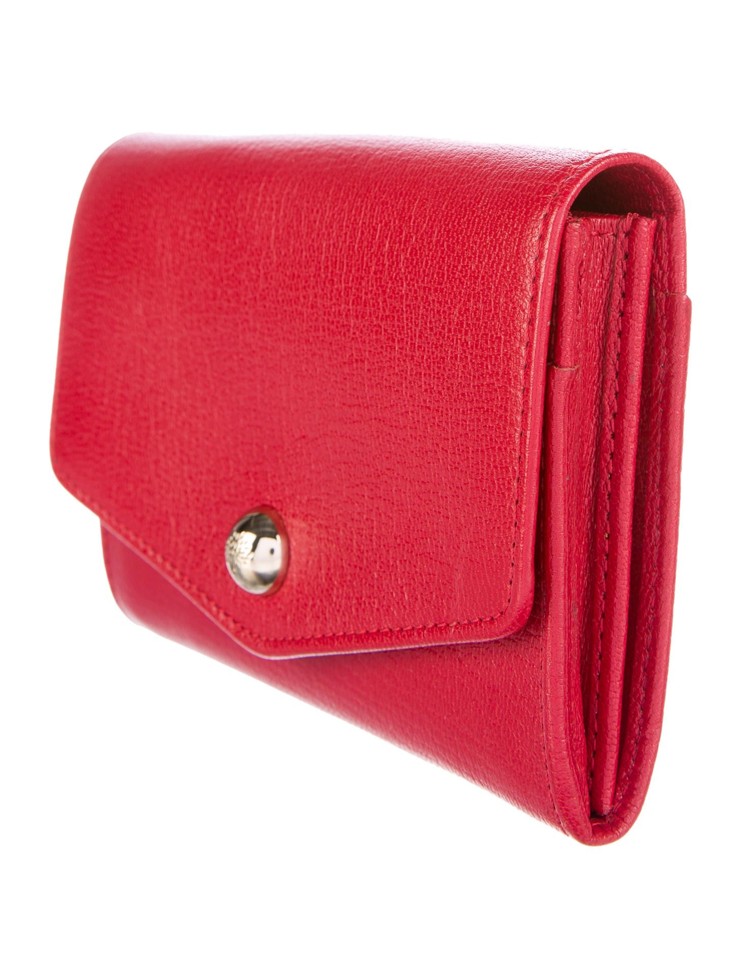 8e2ed53ad946 Red leather Mulberry compact wallet with gold-tone hardware