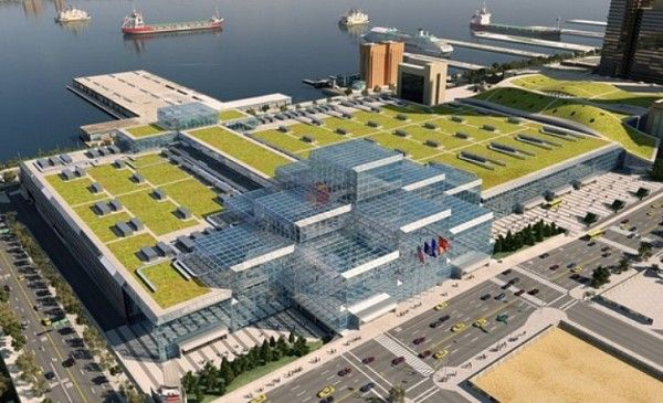 New York S Javits Center Installing Green Roof Green Roof Building Roof Architecture
