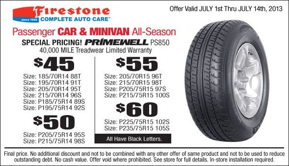Firestone Primewell Ps850 Tire Coupon Special Pricing For July