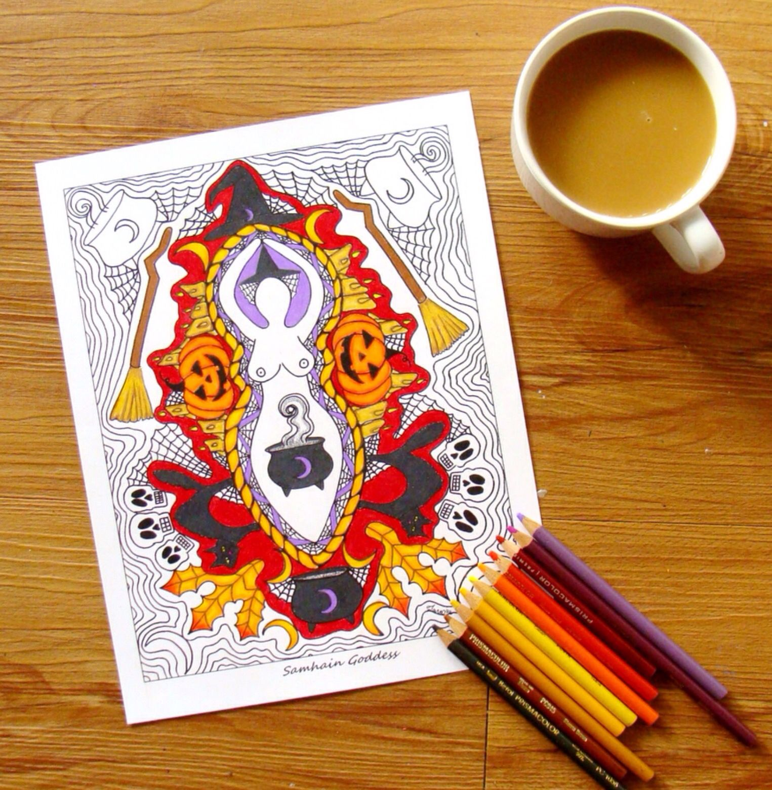 Coloring page for adults samhain halloween goddess coloring page