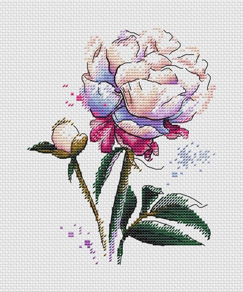 Photo of Peony Cross Stitch Pattern PDF Instant Download Floral Cross Stitch Happy Cross Stitch Spring Cross Stitch Bright Cross Stitch Watercolour