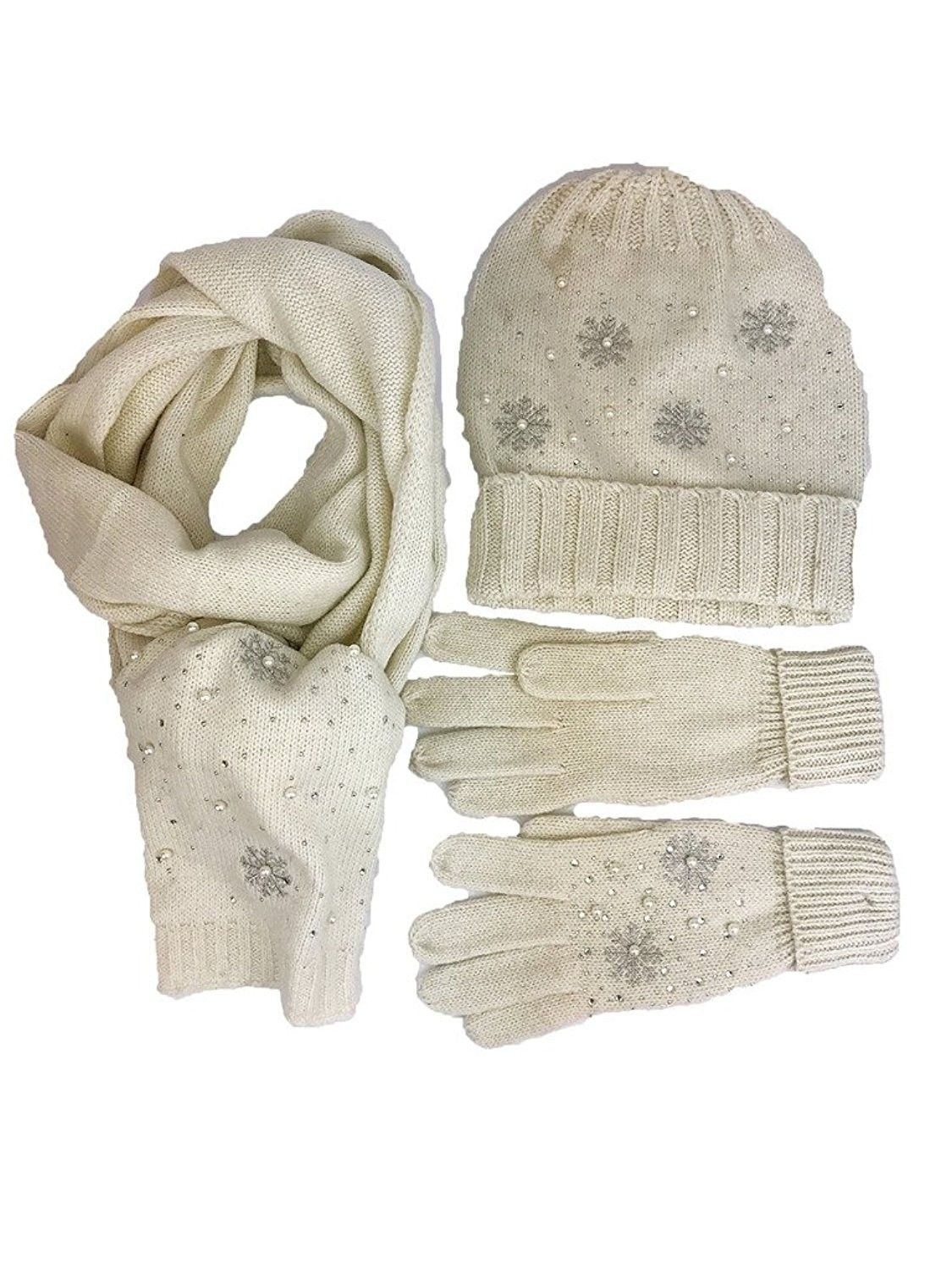 Snowflake Series Wool Blended Gift Sets Hat Glove And Scarf With Pearl Design Beige Cc183xs20yw Pearl Design Hat Designs Wool Blend