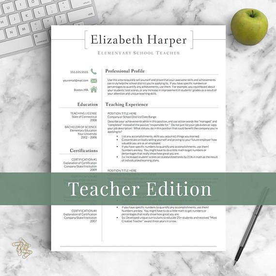 Teacher Resume Template for Word  Pages Teacher CV Template - resume 1 or 2 pages