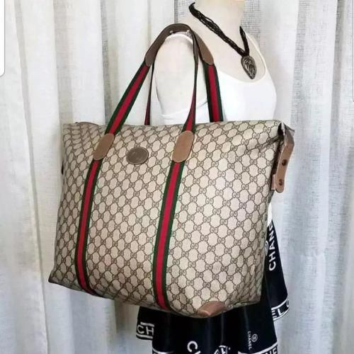 464552eb7c9d Vintage Gucci Extra Large Big Tote Bag Purse Carryon 80s GG Monogram  #Guccihandbags #80sbagspurses