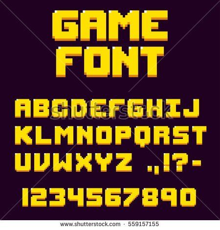 Pixel retro video game font. 8 bit letters and numbers typeface ...