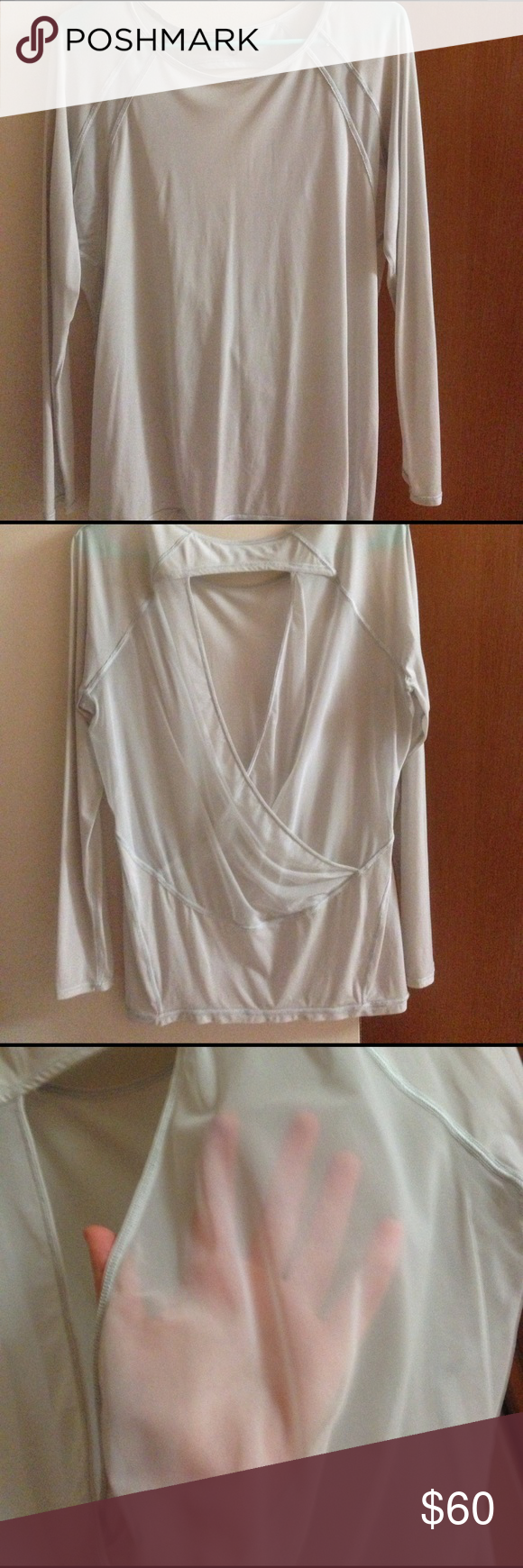 """Lululemon """"If you're lucky"""" long sleeve Worn several times, pretty much see thru, don't remember what size it is but would for S/M lululemon athletica Tops Tees - Long Sleeve"""