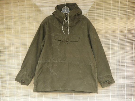 $45.00 etsy Vintage 1940's Army Green Canvas Hooded Pullover ...