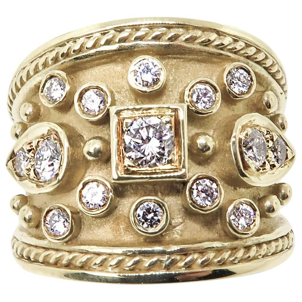 Dilaro Diamond Wide Gold Band From A Unique Collection Of