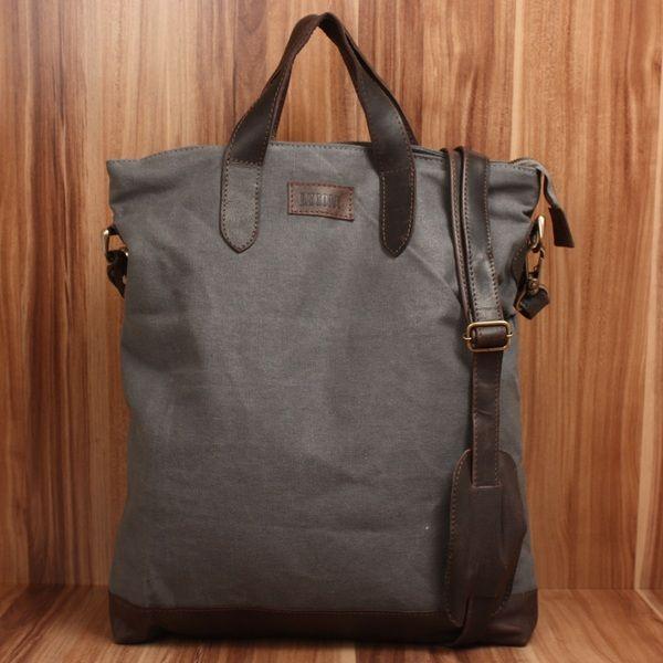 Shopper Leder Canvas Vintage Leconi grau dkl.braun von LECONI Leather Bags auf DaWanda.com