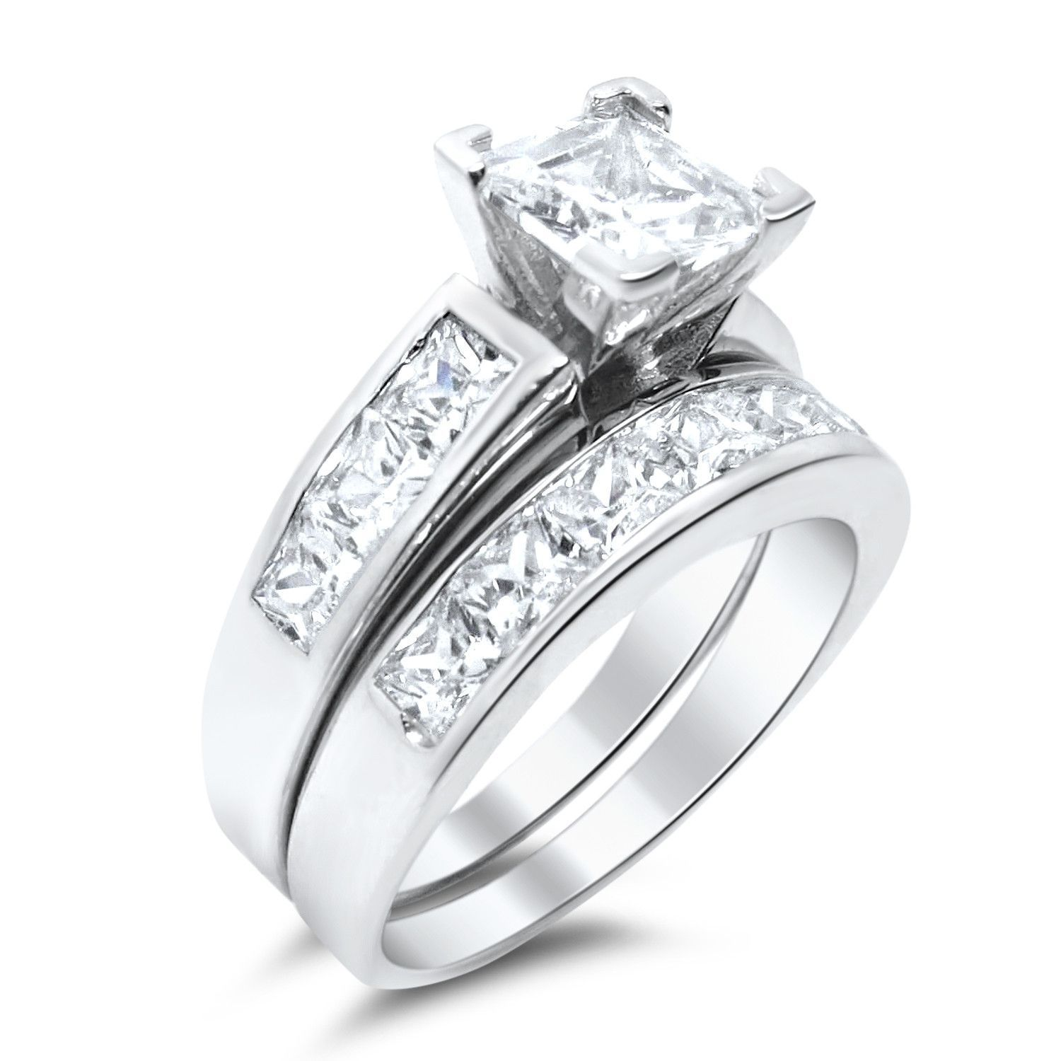 The Highest Quality Cubic Zirconia Wedding Ring Set Aaa Cz Stones That Look Real 925 Sterling Silver 1 Carat Center Stone