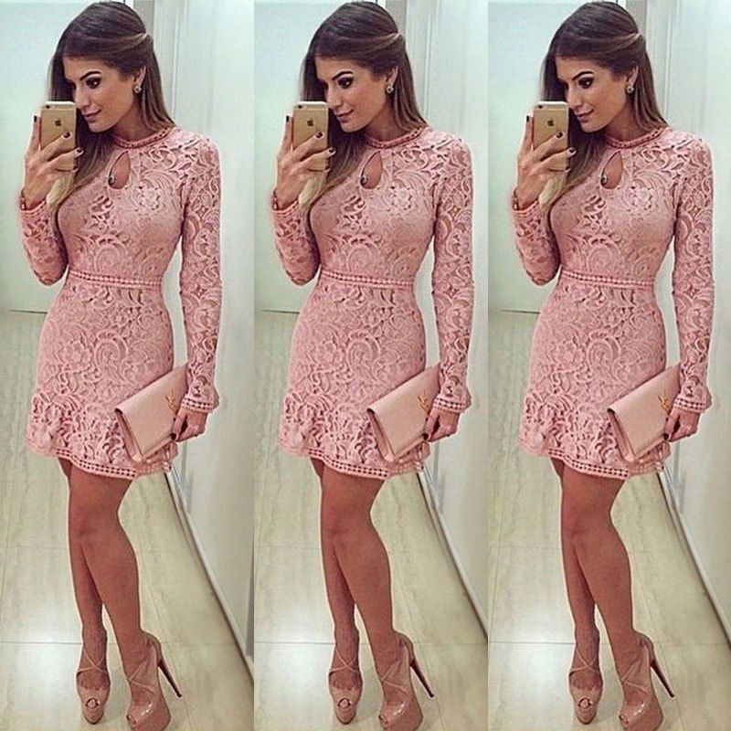 New Womens Summer Lace Long Sleeve Party Evening Cocktail Short