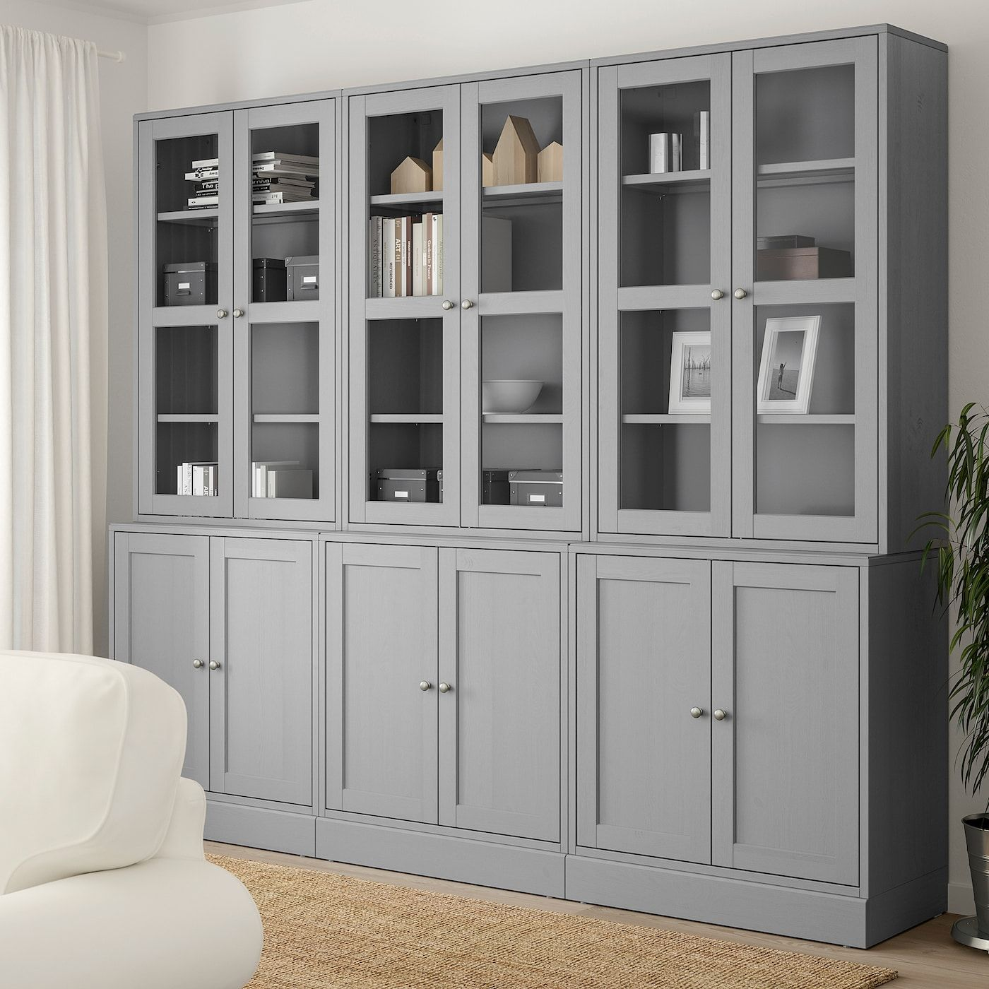 Havsta Storage Combination W Glass Doors Gray Ikea In 2020 Bucherregal Design Wohnzimmerschranke Glasschrankturen