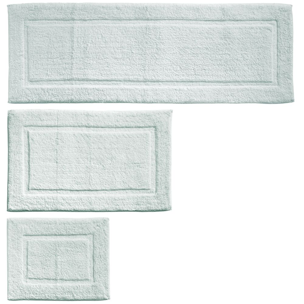 Mdesign Cotton Spa Bath Mat Rectangular Bathroom Rug Set Water