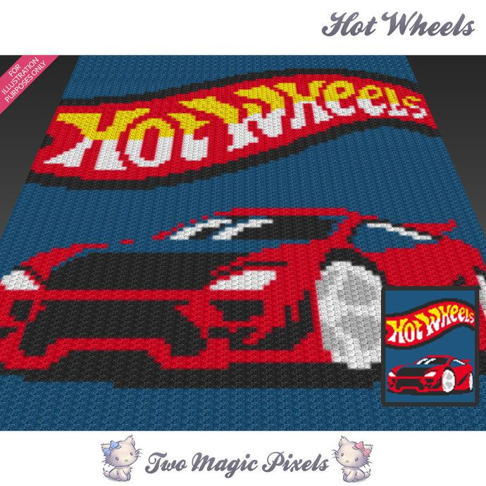 Hot Wheels Car inspired c2c graph crochet pattern; instant PDF ...