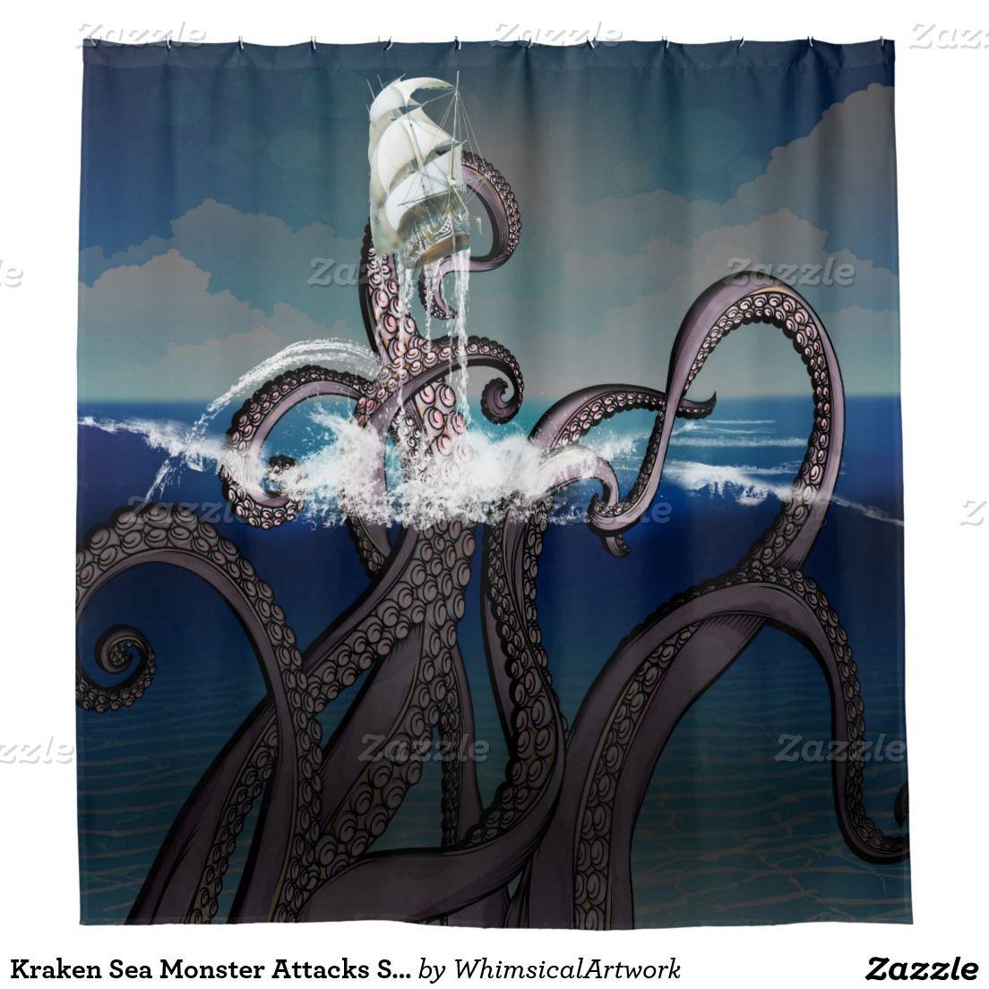 Kraken Sea Monster Attacks Ship At Shower Curtain