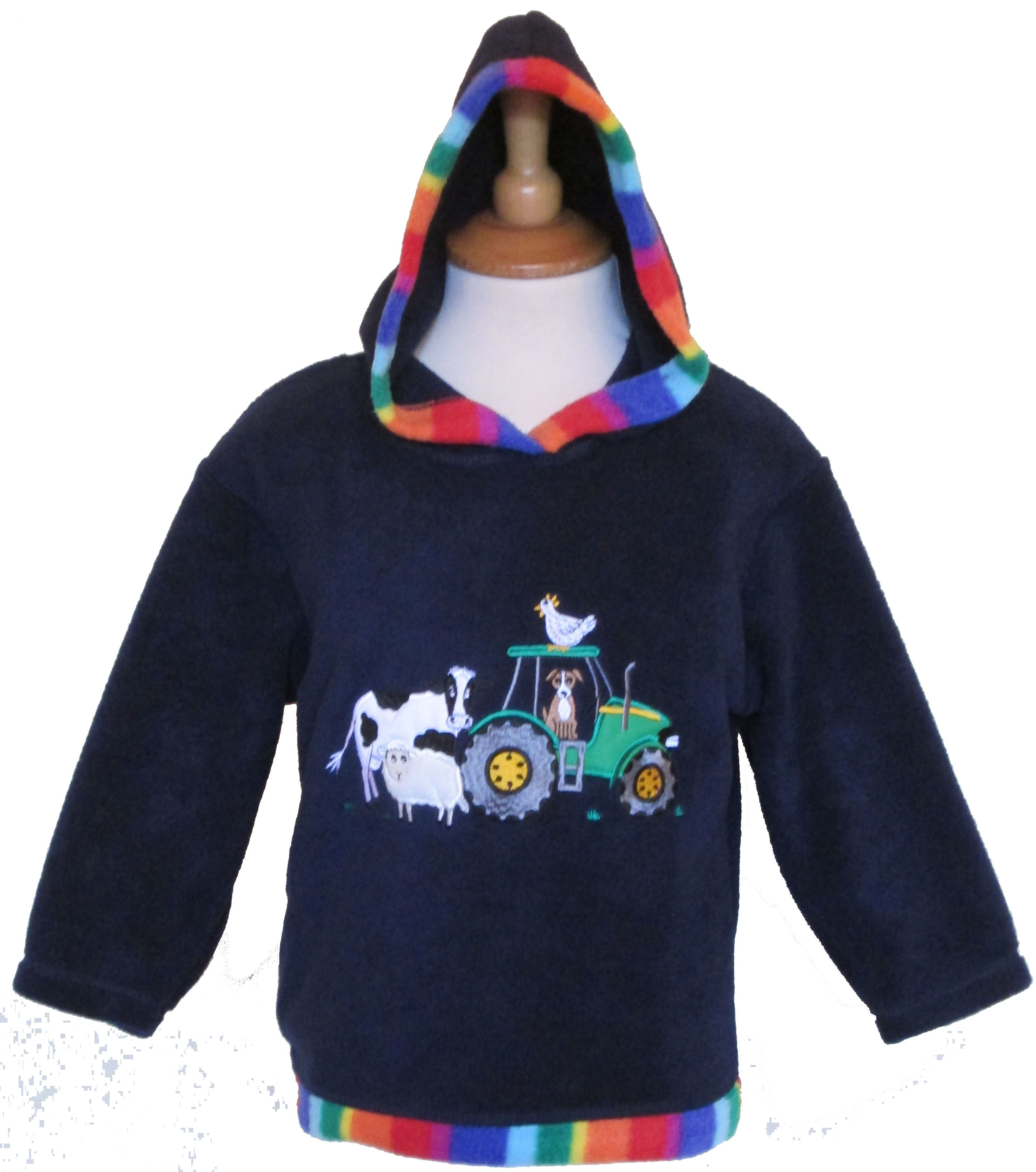 Childs navy fleece hoodie with embroidered farmyard design