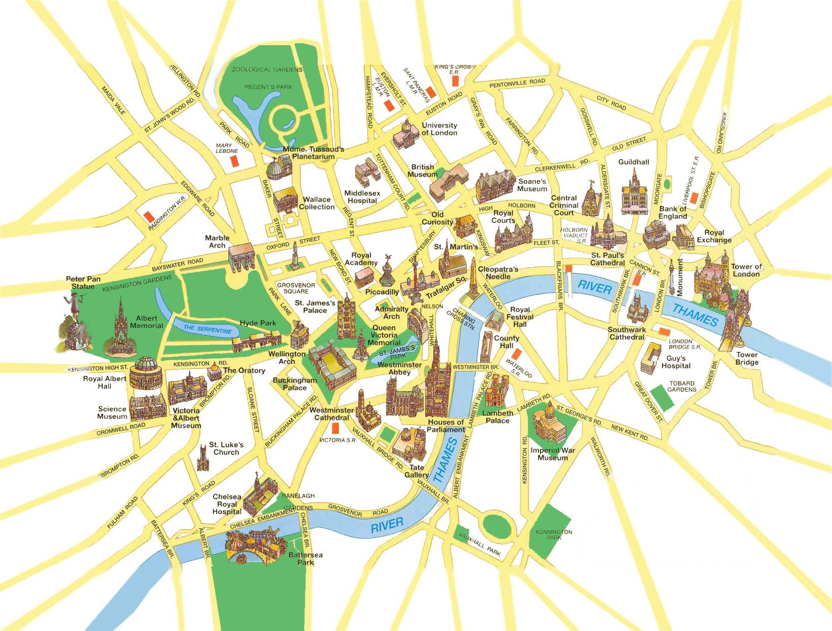 Paris top tourist attractions map Landmarks aerial birds eye view – Map Of Central London With Tourist Attractions