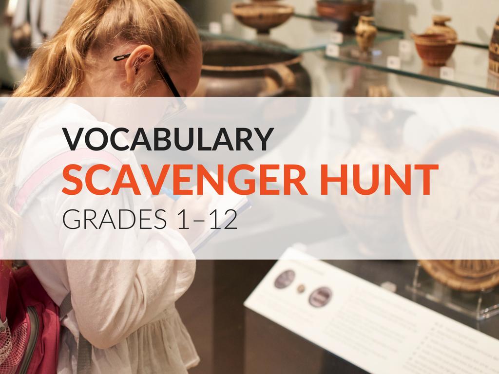 Vocabulary Scavenger Hunt Activity Grades 1 12 Free