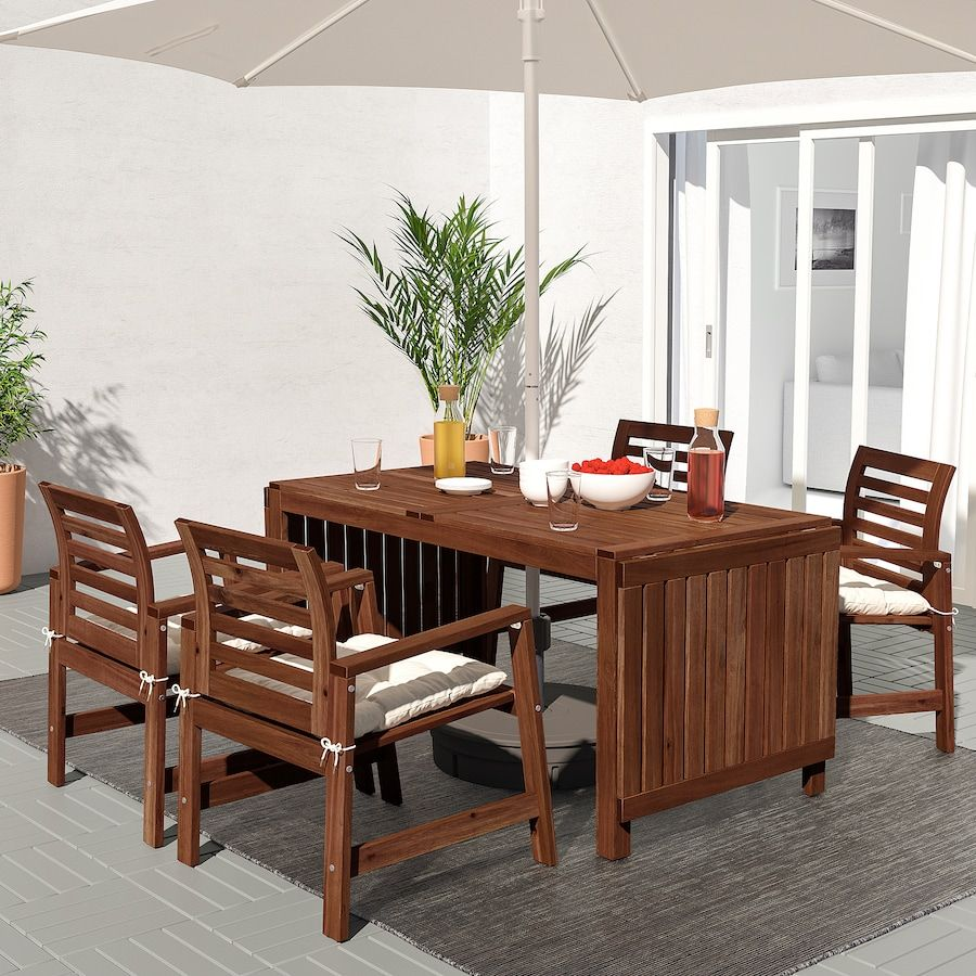 ÄPPLARÖ Armchair, outdoor, brown stained brown - IKEA in 6