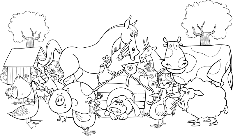 Download Or Print The Free Barn Yard Scene Coloring Page And Find Thousands Of Other Barn Farm Animal Coloring Pages Farm Coloring Pages Animal Coloring Pages