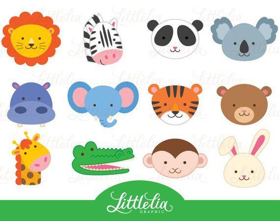 Jungle Animal Head Clipart Jungle Animal Clipart Animal Etsy Animal Clipart Animal Heads Clip Art