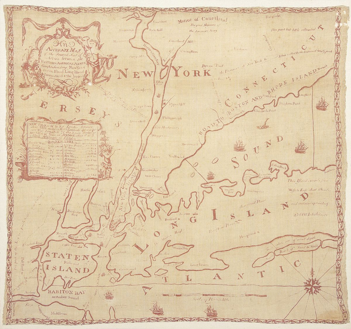 New York Map Handkerchief 1959966 Winterthur Material Culture