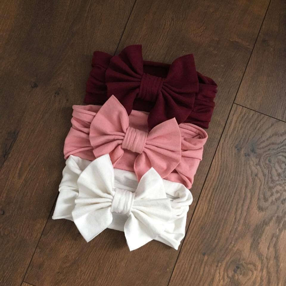 Items similar to Pretty in Pink Bow Headband Set, Set of 3 Bow Headbands, Baby Girl Bows, Bows for Baby Girls, Baby Girl Bow Headband, Baby Headbands on Etsy