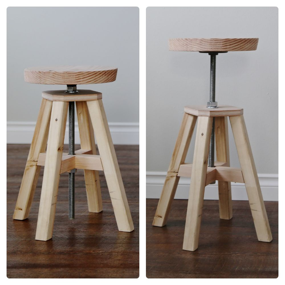 DIY Adjustable height stool made of hardware store parts and 2x2s. Free plans from ana & Adjustable Height Wood and Metal Stool (Knock-Off Wood) | Ana ... islam-shia.org