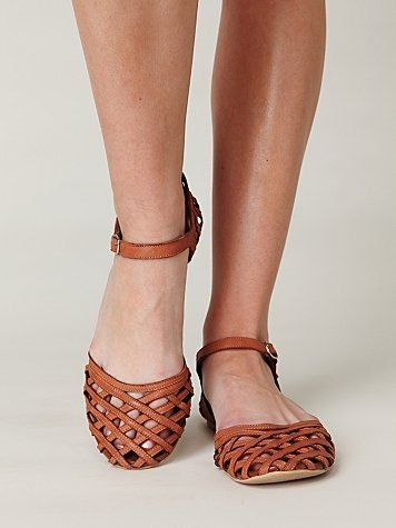 woven leather strappy flats | Comfy