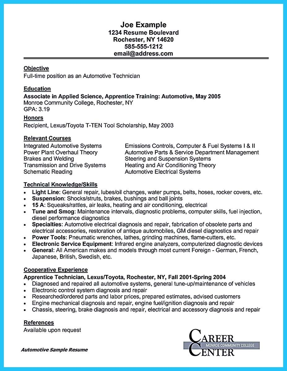 nice Writing a Concise Auto Technician Resume, Check more
