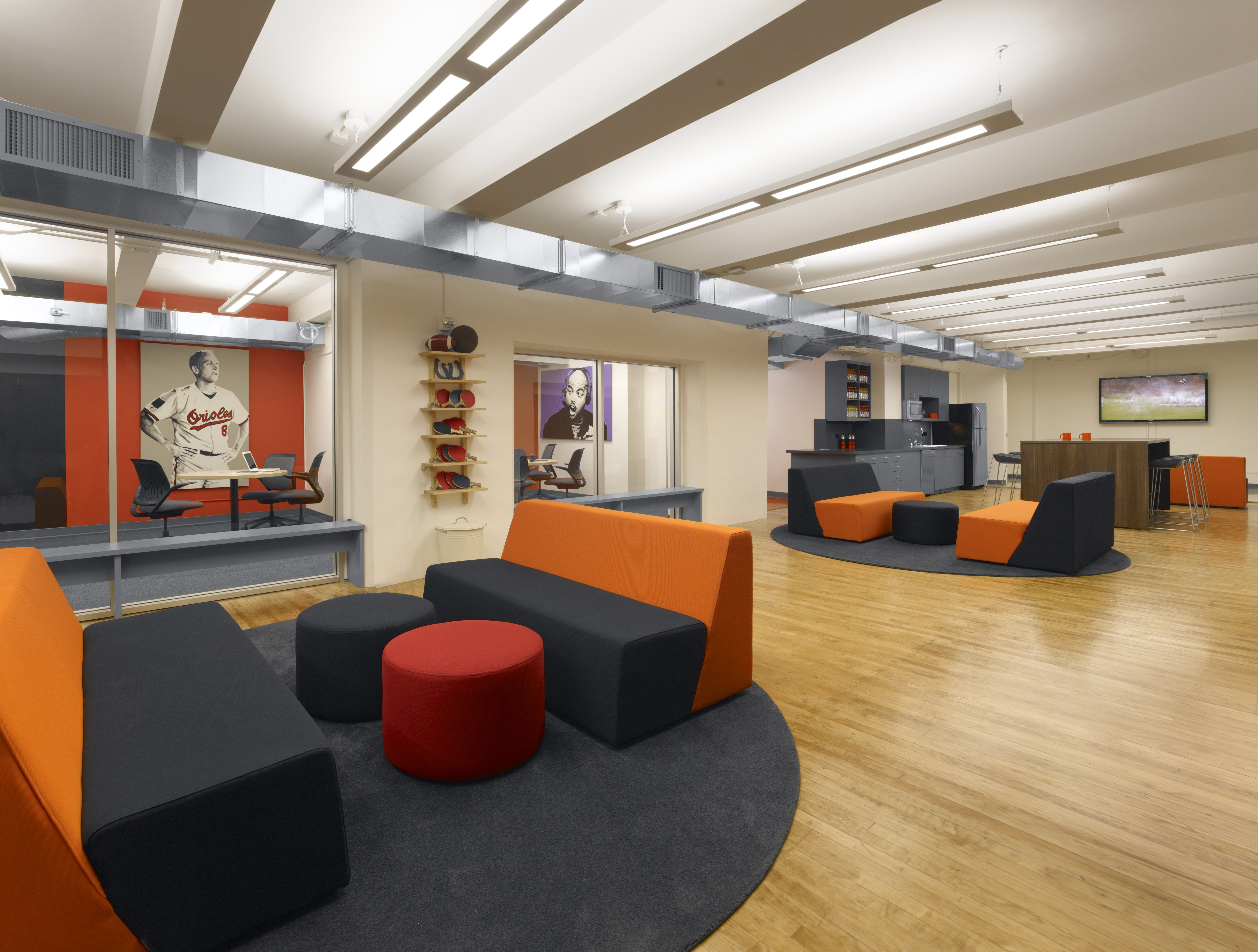 View of collaboration areas bleacher report pinterest for Innovative office space ideas