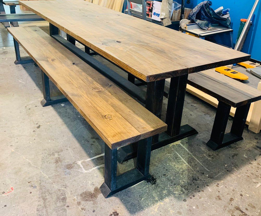 Wooden Kitchen Table and Dining Set Rustic Mid Century Modern Farmhouse Table with Benches Early American Brown Top with Carbon Gray Base
