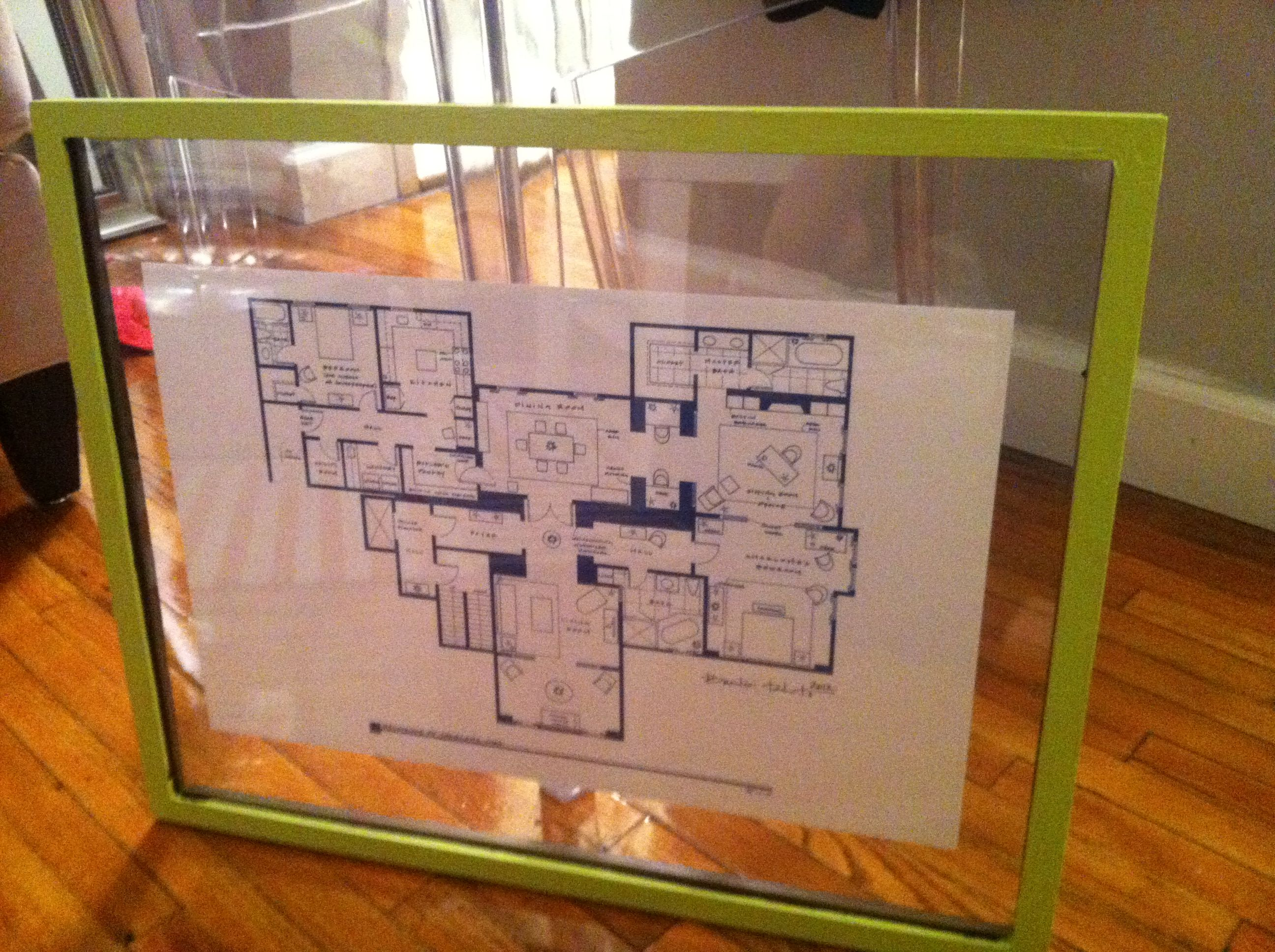 Diy Painted This Floating Frame Neon Green Charlotte York S Apartment Floorplan Framed Within