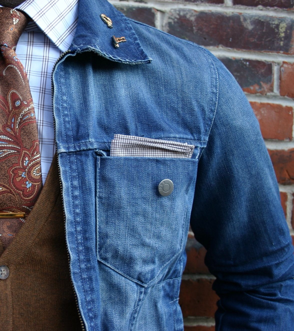 Jean jacket, cardigan, checked shirt, tie and pocket square