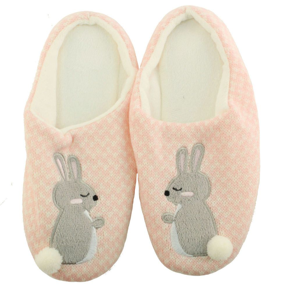 Bunny Rabbit Pom Pom Tail Non Slip Lined House Slippers Slides Mules Pink