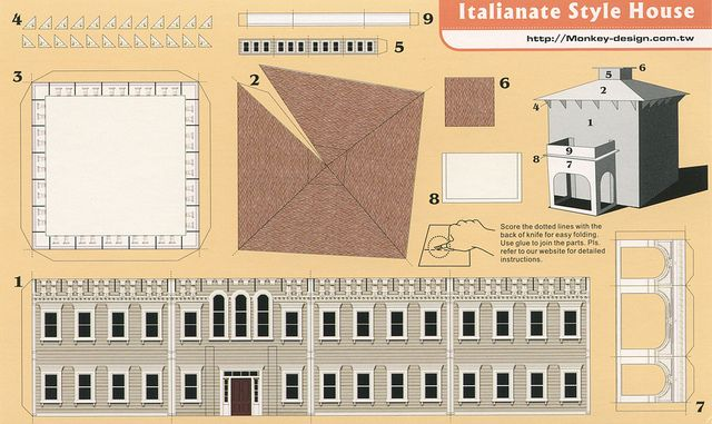 Italianate Style House - Cut Out Postcard | Paper Crazy