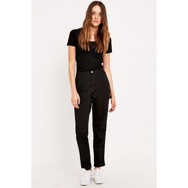 Carhartt Twill Single Knee Trousers (185 BAM) ❤ liked on Polyvore featuring pants, black, black twill pants, highwaisted pants, high waisted loose pants, high waisted black pants and america pants
