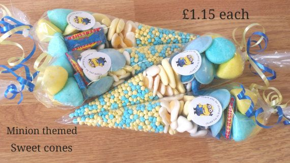 minions themed party bag sweet cone by creativeoccasionsuk on etsy