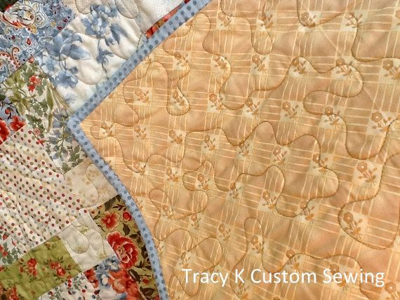 Blue Tossed 9 Patch Quilt by TracykCustomSewing on Etsy