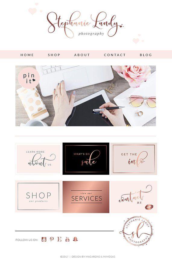 171 Piece Rose Gold Blush Glitter Script Boutique Logo Etsy Website Design Blog Kit Website Design Inspiration