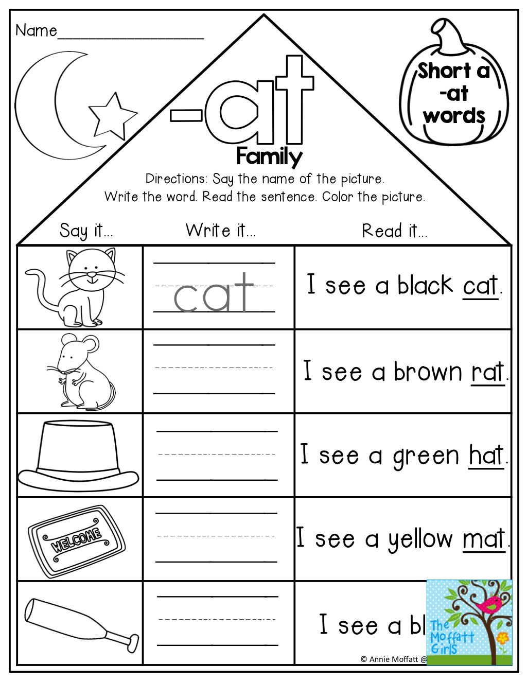worksheet Ap Word Family Worksheets word family houses say the write and read simple sentence