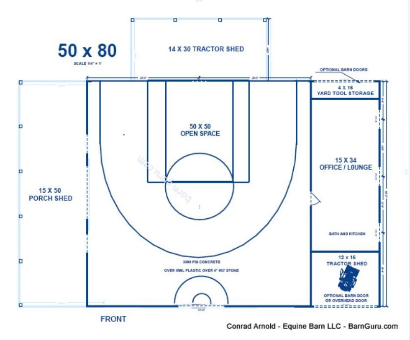 Half court basketball barn indoor basketball court for Basketball court plan