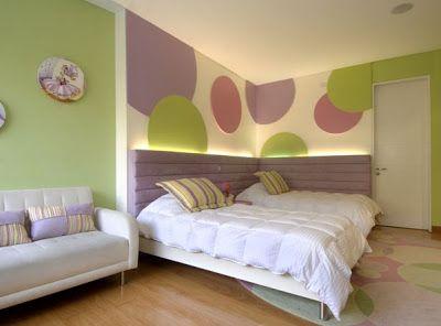 decoracion diseo el dormitorio para las nias y verde manzana lila morado