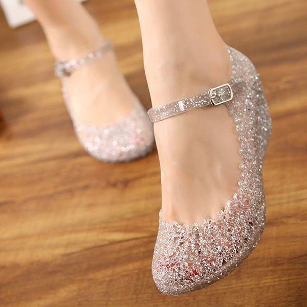 Summer Girls Wedge Beach Women Sandals High Heels Glass Slipper Jelly Shoe  Comfy Wedding Shoes 1dc20ac61a96