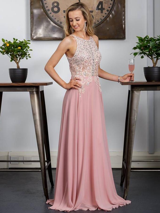 2018 A-line Prom Dresses Long Pink Beading Modest Chiffon Prom Dress ...