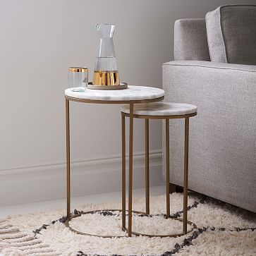 Marble Round Nesting Side Table Set Of 2 Pedestal Coffee Table