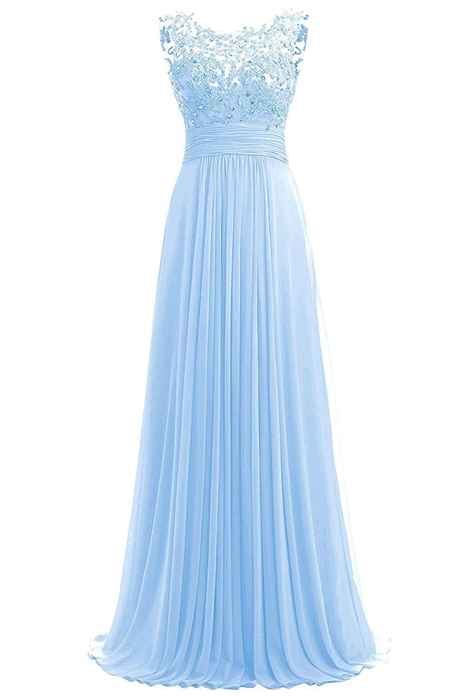 Abendkleid lang blau chiffon